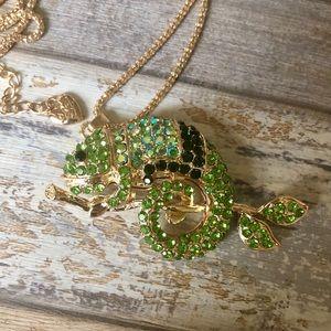 NEW✨ Betsey Johnson Chameleon Lizard CZ Necklace
